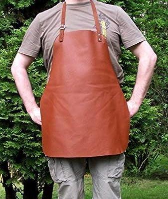 Qualitäts Grillschürze aus echtem Leder - Kochschürze - Bistroschürze - Kellnerschürze, ca. 55x65 cm - in cognac braun mit verstellbaren Riemen - Echte Lederschürze