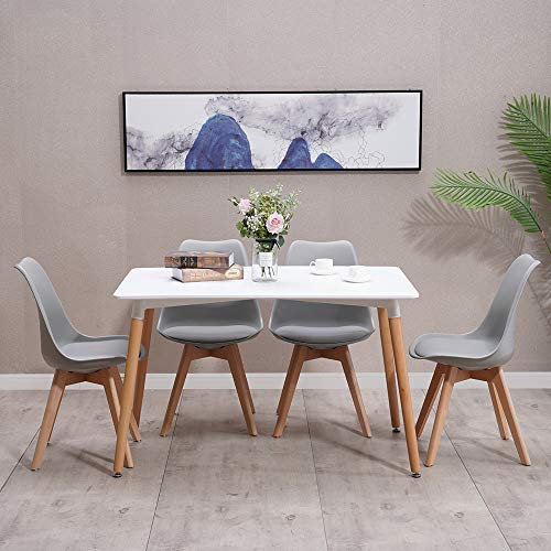 HomJoy Modern Design Dining Table and Chair Set, Grey Retro Lounge Chairs and 120cm Table (Grey * 4 + 120cm Table)