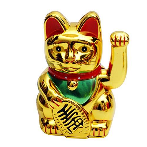 IMIKEYA Chat Porte-Bonheur Or Maneki Neko Chat Fortune Japonais avec Bras ondulant à Piles décor à la Maison