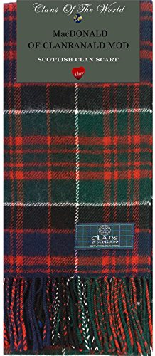 I Luv Ltd MacDonald of Clanranald Modern Tartan Clan Scarf 100% Soft Lambswool