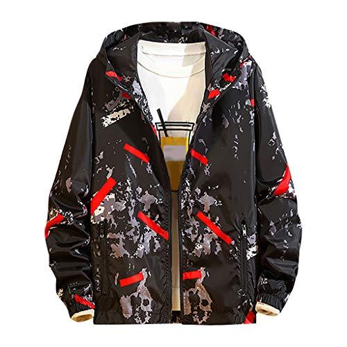 MAYOGO Herren Winterjacke Übergangsjacke Regenjacken Freizeit Jacke Full-Zip Softshell Jacke College Jacke mit Kapuze NV2, rot,XXL