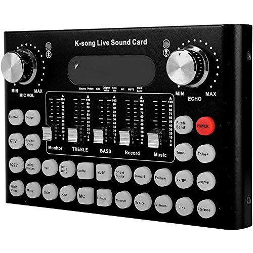 BYTGK Live Sound Card Multifunctionele Bluetooth Metalen Shell Opname Muziek Audio Mixer Geluidseffecten voor WeChat/QQ/Computer Live S0325