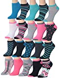 Tipi Toe Women's 20 Pairs Colorful Patterned Low Cut/No Show Socks, (sock size9-11) Fits shoe size 6-12, WL08-AB