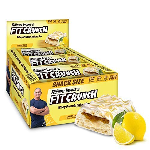 Fit Crunch Lemon Protein Bar, High Protein, Low Sugar, Gluten Free, 9 Count Lemon Cake
