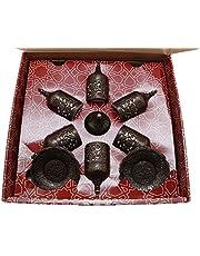 دار الرؤى فناجين قهوة تركي عثماني مع صينية وسكرية، بني 6 قطعة