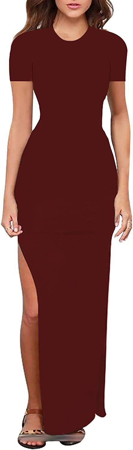 Linsery Women Summer Dresses Casual Solid High Slit Long Bodycon Dress Party Beach Dress