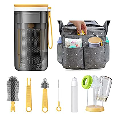 Koelin Travel Baby Bottle Drying Cleaning Rack Accessories,Space Saving Holder Baby Airplane Travel Necessities with Silicone Baby Bottle Brush Nipple Brush Container