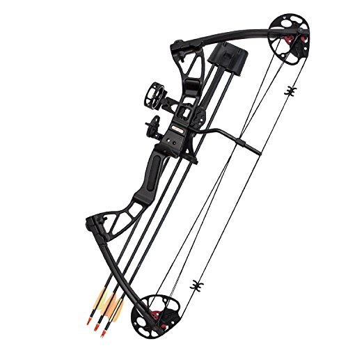 Southland Archery Supply SAS 25-55 Lb 20-29'' Adjustable Quad Limb Compound Bow Package with 3-pin Sight, Arrow Rest, Quiver and Arrows - Black