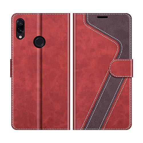 MOBESV Handyhülle für Xiaomi Redmi Note 7 Hülle Leder, Xiaomi Redmi Note 7 Klapphülle Handytasche Hülle für Xiaomi Redmi Note 7 Handy Hüllen, Modisch Rot