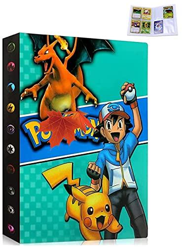 Carpeta compatible con tarjetas Pokemon, Álbum Tarjetero libro compatible con Cartas Pokemon, Álbumes de tarjetas coleccionables, Capacidad para tarjetas de 30 páginas y 240 (Green Ash)