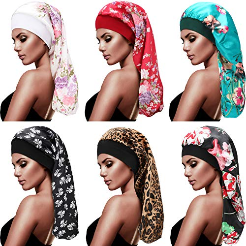 6 Pieces Long Satin Bonnet Sleep Cap Hair Loose Cap Large Silk Bonnet 2.36 Inch Elastic Wide Band Night Sleeping Hat for Braid Long Natural Hair (Floral Print, Bow Print, Leopard Print)