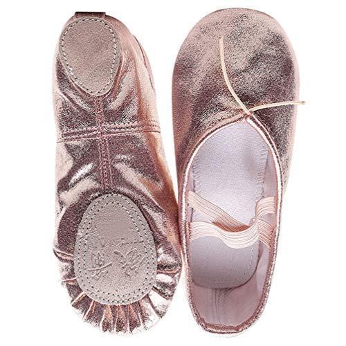 EXCEART Zapatillas de Ballet para Mujer Pisos Dansoft Suela Completa Pu Cuero Elástico Ballet Dance Yoga Zapatilla Antideslizante Cómodo Suave Escenario Rendimiento Zapatos Rosa 1 par Tamaño 35