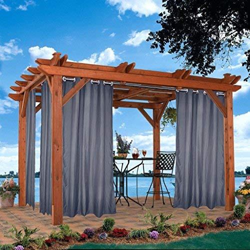 Outdoor Vorhänge 4 Stück Gartenlauben Balkon-Vorhänge Gardinen 132x245cm Verdunkelungsvorhänge mit Ösen, Vorhang Wasserdicht Mehltau beständig, Pavillon Strandhaus, Grau