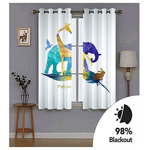 Knbob Polyester Vorhänge Blau Gelb Braun Giraffe Häschen Elefant und Vogel in Feder Gardinen Wohnzimmer Kurz Größe 274x115CM