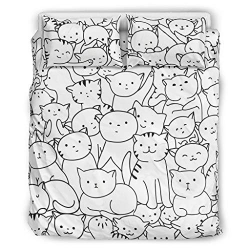 Beddengoedset met volledig scherm, wit, zwart, driedelige set, zacht microvezel, voor meisjes, 3 stuks, doorzichtig blad, kussensloop, comfortabel, afmetingen hele jaar door.