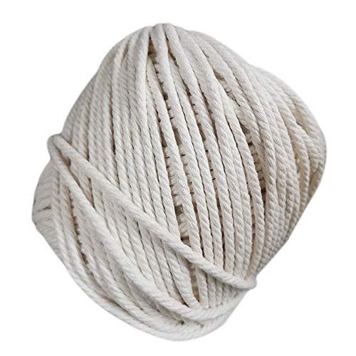 Kaned Makramee Schnur Baumwolle Makramee Baumwolle Kordelstrang Gedrehtes Makramee Seil für Wandbehang,5 mm 50 m