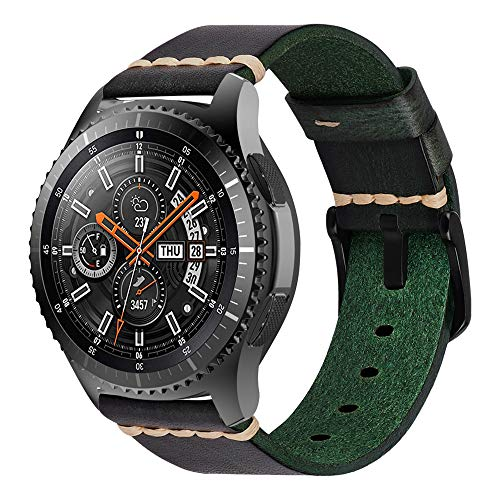 iBazal Galaxy Watch 46mm Armband 22mm Resin Leder Uhrenarmband Lederarmband Bands Ersatz für Samsung Gear S3 Frontier/Classic,Huawei Watch 2 Classic/GT/Honor Magic,Ticwatch Pro/E2/S2 - Groen