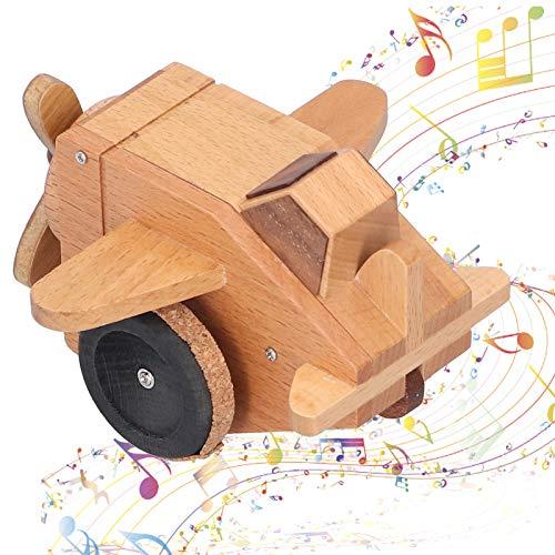 Caja de música de madera, haya natural Modelo de vehículo retroactivo retro Caja musical mecánica giratoria innovadora para amantes, amigos, niños, decoración de oficina