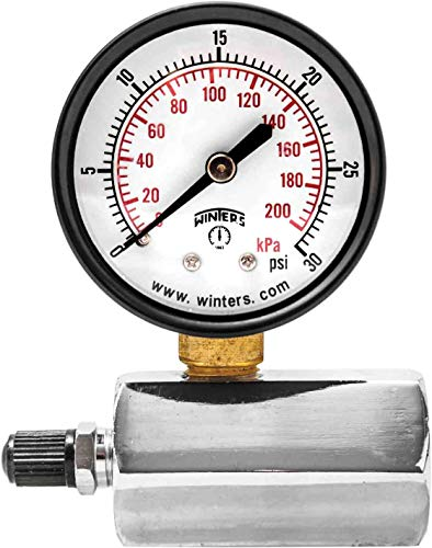 "Winters PET Series Steel Dual Scale Gas Test Pressure Gauge with Polycarbonate Lens, 0-30 psi/kpa, 2"" Dial Display, +/-3-2-3% Accuracy, 3/4"" FNPT Connection"
