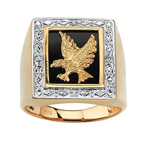 Men's 14K Yellow Gold over Sterling Silver Genuine Diamond Accent Black Natural Onyx Eagle Ring Size 11