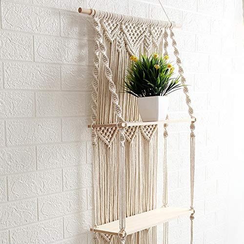 ishine Estantería de pared flotante para plantas de macramé, almacenamiento de madera, dormitorio, sala de estar, Boho Rstic Decor