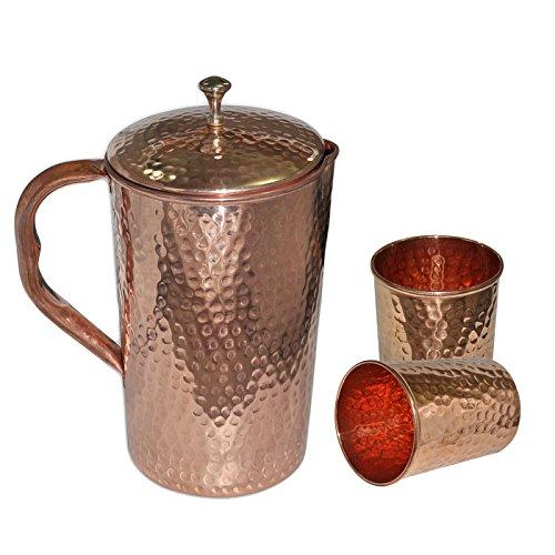 DakshCraft Pichet martelé en cuivre pur – 1500 ml et verre martelé en cuivre pur – 287,5 g, lot de 2