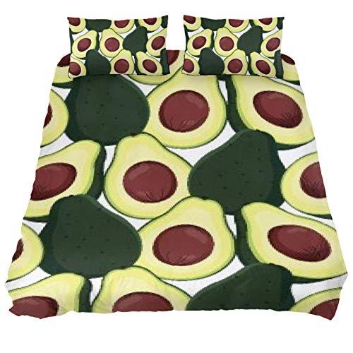 Eslifey Avocado 3-teiliges Bettwäsche-Set, Schlafzimmerdekoration, Bettbezug mit zwei Kissenbezügen