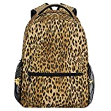 Vdsrup Vintage Leopard Print Backpack for Girls Kids Boys Chic Animal Print School Book Bag Waterproof Student Laptop Backpacks College Carrying Bags Casual Durable Lightweight