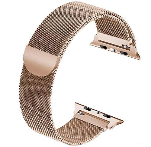 Tervoka Ersatzarmband kompatibel mit Apple Watch Armband 44mm 42mm, Metal Edelstahl Armband mit Magnet kompatibel mit iWatch Series 6/5/4/3/2/1, Gold