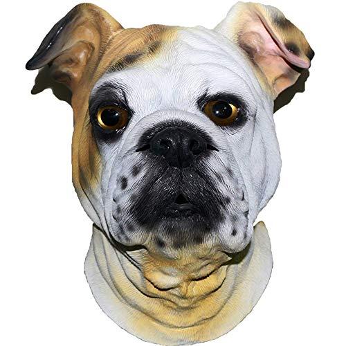 Halloween English Bulldog Mask Latex Animal Dog Mask Full Head...