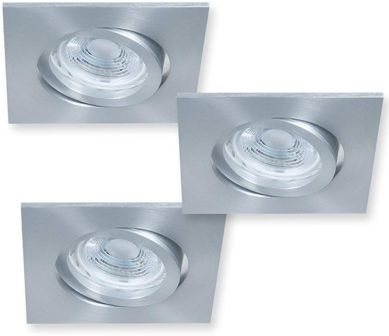 LED Einbaustrahler 3er Set GU10 je 5W  Einbauspot Alu grau eckig  Einbauleuchten 2700K 346lm inkl. LED-Leuchtmittel