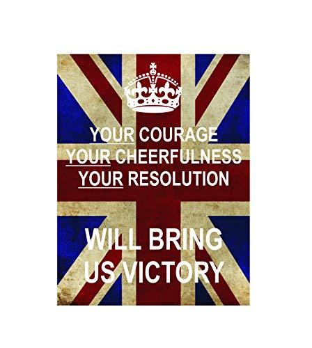 Placa de metal con diseño de bandera de la Unión de Coole con texto en inglés 'Your courage cheerfulness Resolution' Will bring us Victory ww2 Retro Shabby Chic Vintage Style Picture Metal Placa de pared imán para nevera