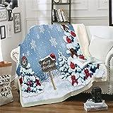 NBVGHJ Weihnachtsbaum Plüschdecke Blau Cartoon Bettwäsche Für Kinder Panda Schnee Weiche Flauschige Decke Tagesdecken Decke 150×130CM