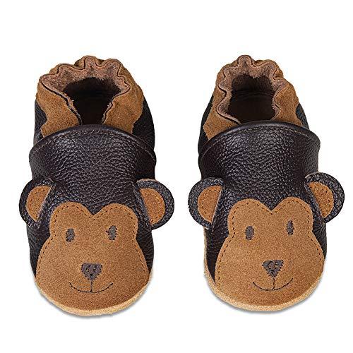 Chaussons Bébé Premiers Pas Chaussures Cuir Souple Bébé Fille Garçon Mignon Colorée Animaux Pantoufles 0-6 Mois - 2Ans(Brun Singe, 6-12 Mois)