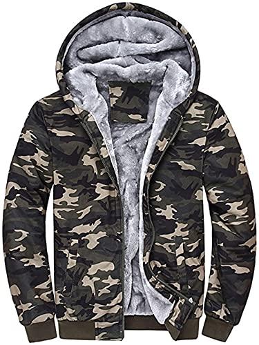 -tops Mens camuflaje sudadera con capucha Outwear, invierno cálido chaqueta de suéter abrigo, manga larga bolsillo hombre traje
