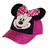 Disney Little Hat for Girl's Ages 2-7, Minnie Mouse Kids Baseball Cap 3D Design Ears, Pink Glitter, Toddler Age 2-4