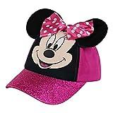 Disney Little Kids Baseball Hat for Girls Ages 2-7, Minnie Mouse Cap 3D Ears, Pink Glitter, 2-4T