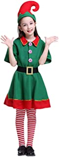 Kids Holiday Green and Red Elf Costumes Dresses Christmas Eve Funny Boy and Grils Cosplay Party