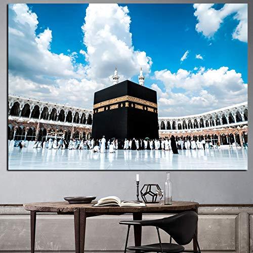 SQSHBBC Print Mekka Islamische Heilige Nacht Hadsch Runde Ornament Ansicht Muslim Moschee Landschaftsmalerei Auf Leinwand Religiöse Kunst Cuadros Decor B 40x60 cm ungerahmt
