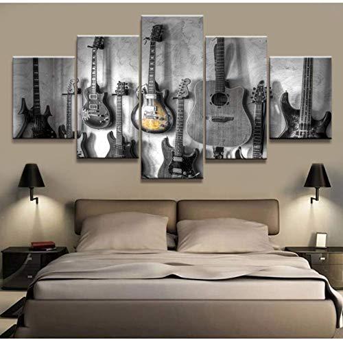 Leinwand HD-Drucke Wandkunst Home Wohnzimmer Dekor 5 Stück Gitarre Leinwand Malerei Musikinstrumente Modulare Bilder Kunstwerk Poster K3 200x100 cm
