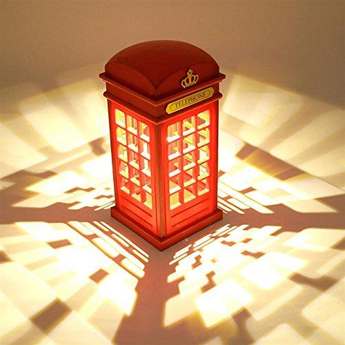 Noche Lámpara de mesa, regulable LED luz nocturna Londres Cabina Telefónica Forma atmósfera lámpara con 3.5mm USB Cable Para Bebé Dormitorio Decoración novedad cumpleaños regalo (No se incluye pilas)