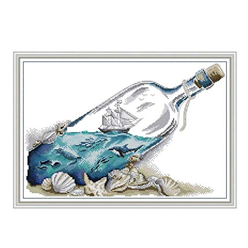 Mrjg Solar Sea in Einer Flasche Kreuzstichpackung 14ct 11ct Zählung Druck Leinwand Kreuzstiche Handstickerei DIY Handarbeit gartenbeleuchtung (Color : 14ct Print Canvas, Size : Cotton Thread)