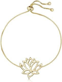 """SENFAI Lotus Flower Bracelet for Women Elegant Vivid Hand Accessory for Women Adjustable 9"""""""
