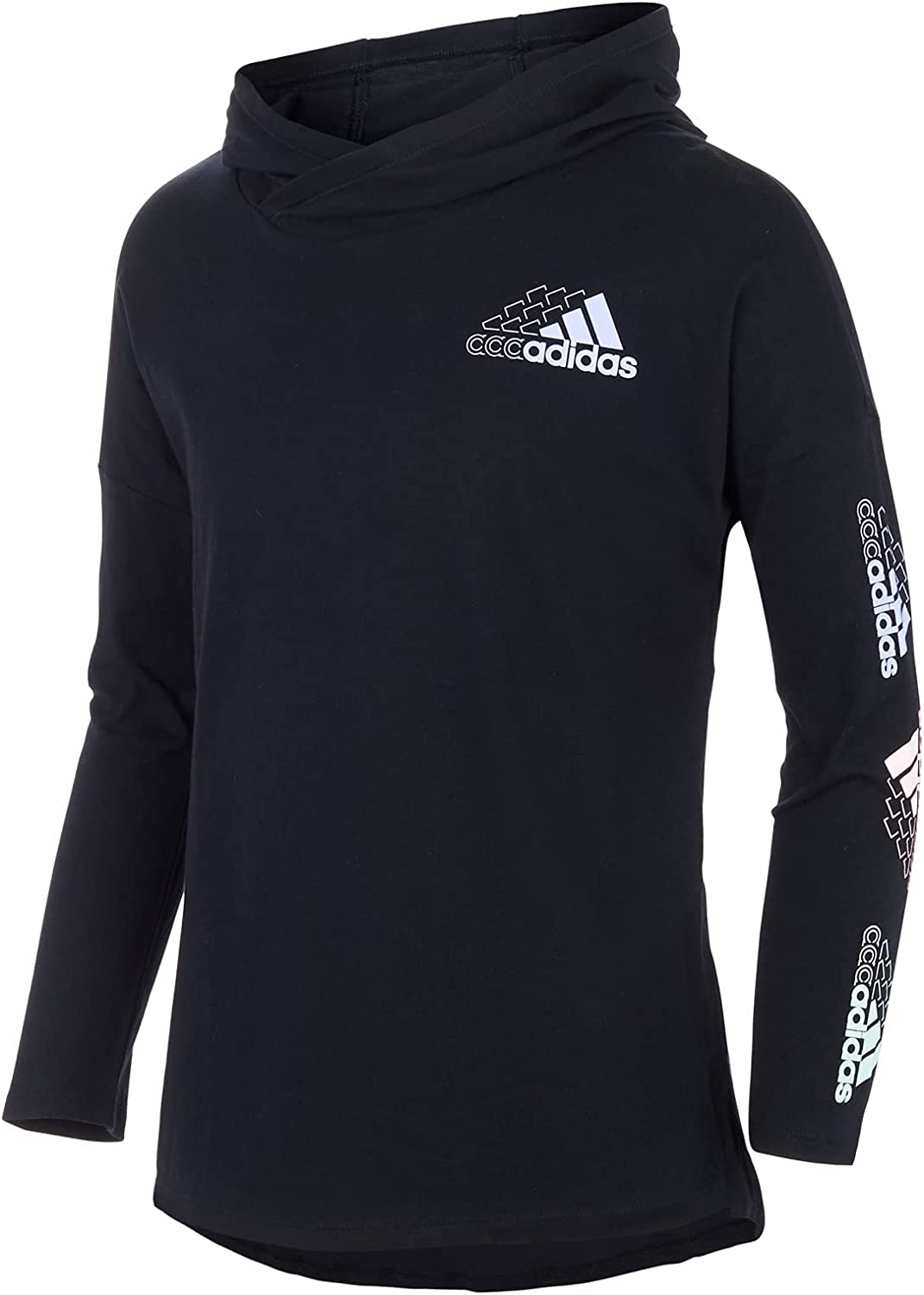 adidas Girls' Long Sleeve T-Shirt Tee Hooded Manufacturer OFFicial shop Credence