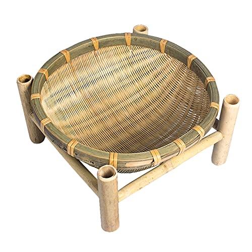 WHDJ Cesta de Frutas de bambú Natural, Cuenco de Almacenamiento Tejido de ratán Hecho a Mano Chino, Cesta de Frutas Creativa para Frutas, Verduras, Aperitivos de Pan (P17)