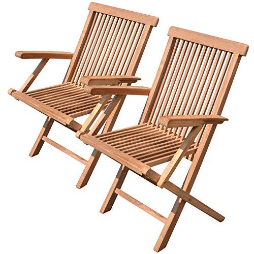 Divero GL05038_SL 2er Set Balkonstuhl Klappstuhl Teakstuhl Gartenstuhl – Teakholz Stuhl für Terrasse Camping – kompakt klappbar behandelt – Natur-braun