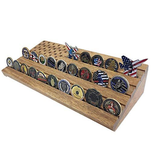Indeep 6 Row Challenge Coin Display Military Challenge Coin Holder - Holds 30-40 Coins