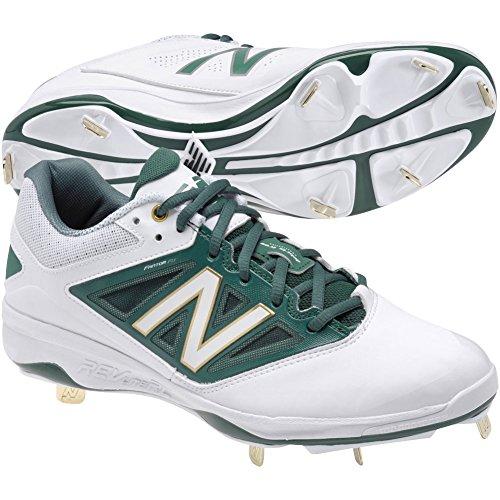 New Balance Men's L4040v3 Low Metal Baseball Cleats White/Green 16