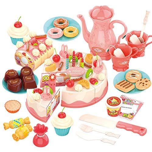 REMOKING Küchenspielzeug Kinder, Spielzeug für Rollenspiel, DIY 82 PCS Kuchen Spielzeug Set mit Obst Dessertteller &Teetasse & Aufklebern, Spielzeug Geschenk für Jungen und Mädchen