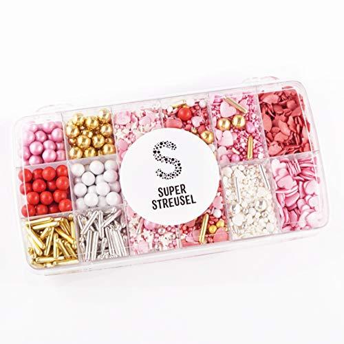 Super Streusel | Superbox XXL Große Liebe (425g) | Zuckerstreusel für Kuchen Kekse Torte uvm. | Alle Zutaten aus der EU | Streuselmix aus Hamburg | Ohne AZO-Farbstoffe
